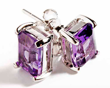amethyst birthstone carat gold stud white earrings handmade